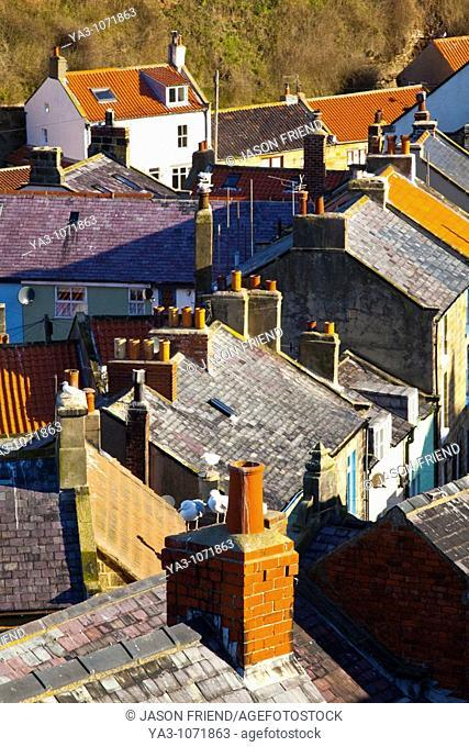 England, North Yorkshire, Staithes  View looking down on the roofs and chimney pots of the old town of Staithes, located within the North York Moors National...