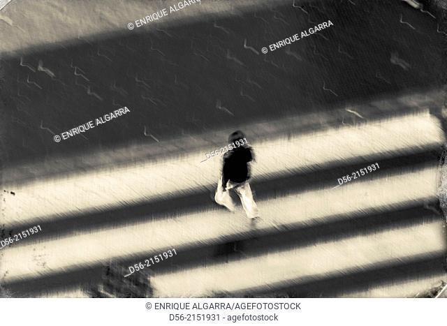 Man walking along a zebra crossing, Valencia, Spain