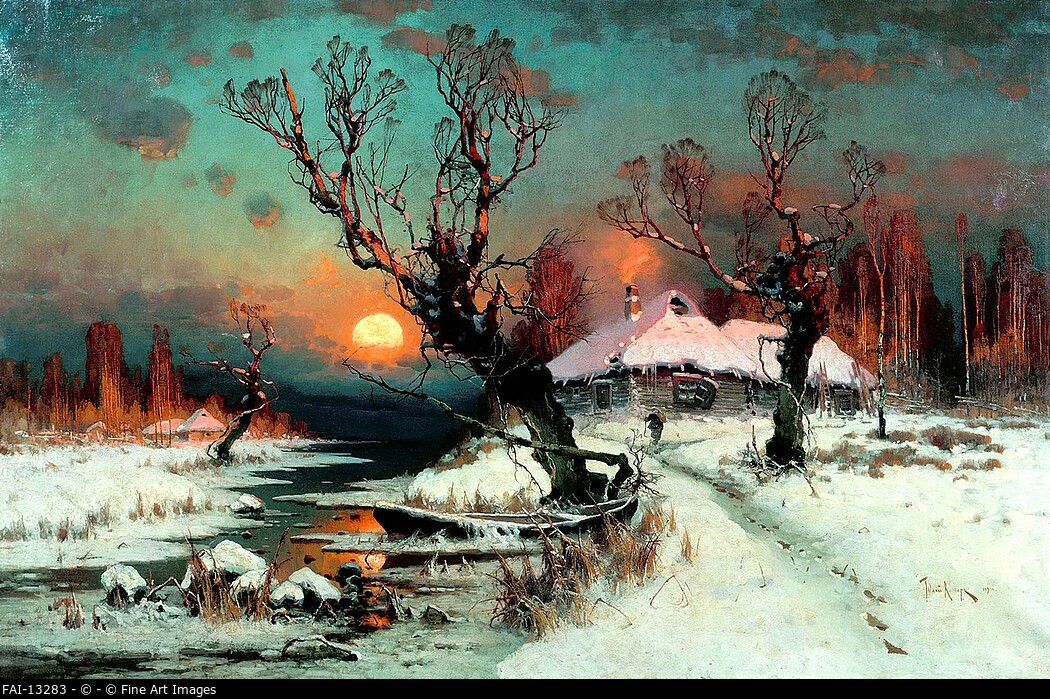 Winter Sunset. Klever, Juli Julievich (Julius), von (1850-1924). Oil on canvas. Russian Painting of 19th cen. . 1891. Regional Art Museum, Kaluga. Pai...