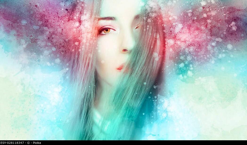 Beautiful woman artwork in a winter mood