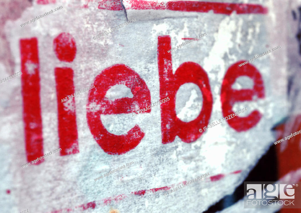 Stock Photo: 'Love' text in German, close-up.