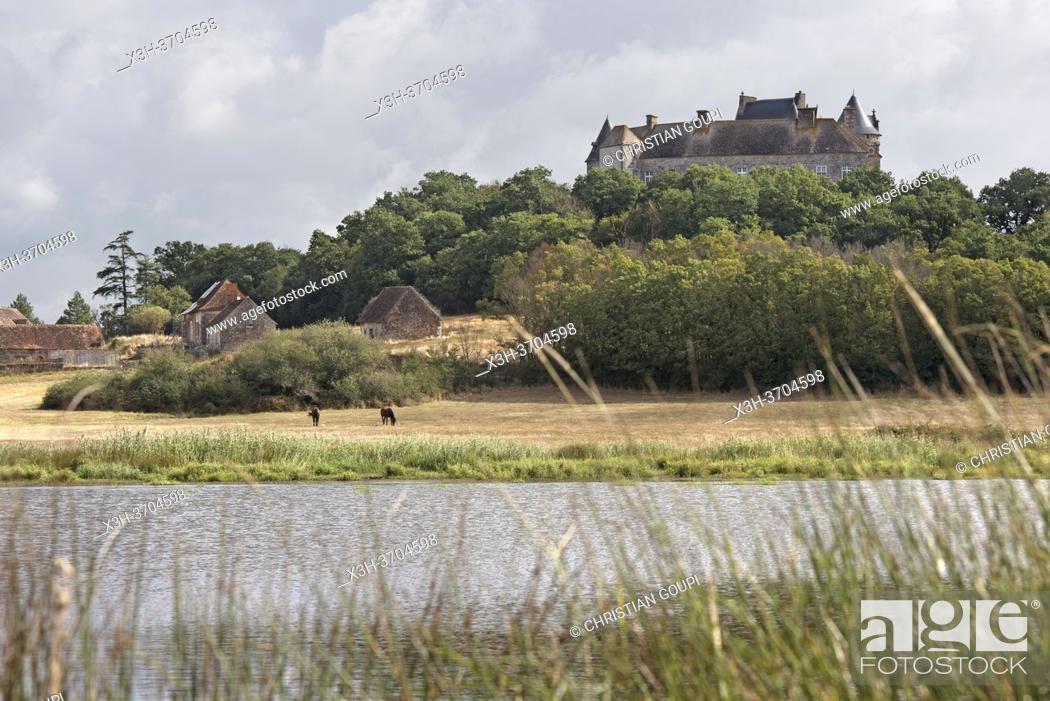 Stock Photo: Etang de la Mer Rouge avec le Chateau du Bouchet en arriere-plan, Parc naturel regional de la Brenne, departement de l'Indre, Province historique du Berry.