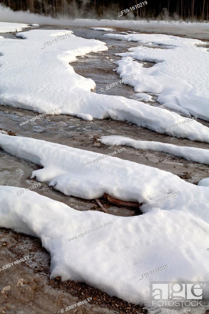 Stock Photo: Fountain Paint Pots Area, Winter, Yellowstone NP, WY.
