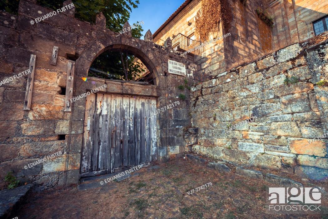 Stock Photo: Wood door in Santa Maria de Oia monastery (Pontevedra, Spain).