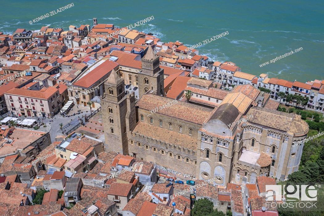 Stock Photo: Old Town and Cathedral in Cefalu town, loctaed on the Tyrrhenian coast on Sicily Island, Italy - view from Rocca di Cefalu massif.