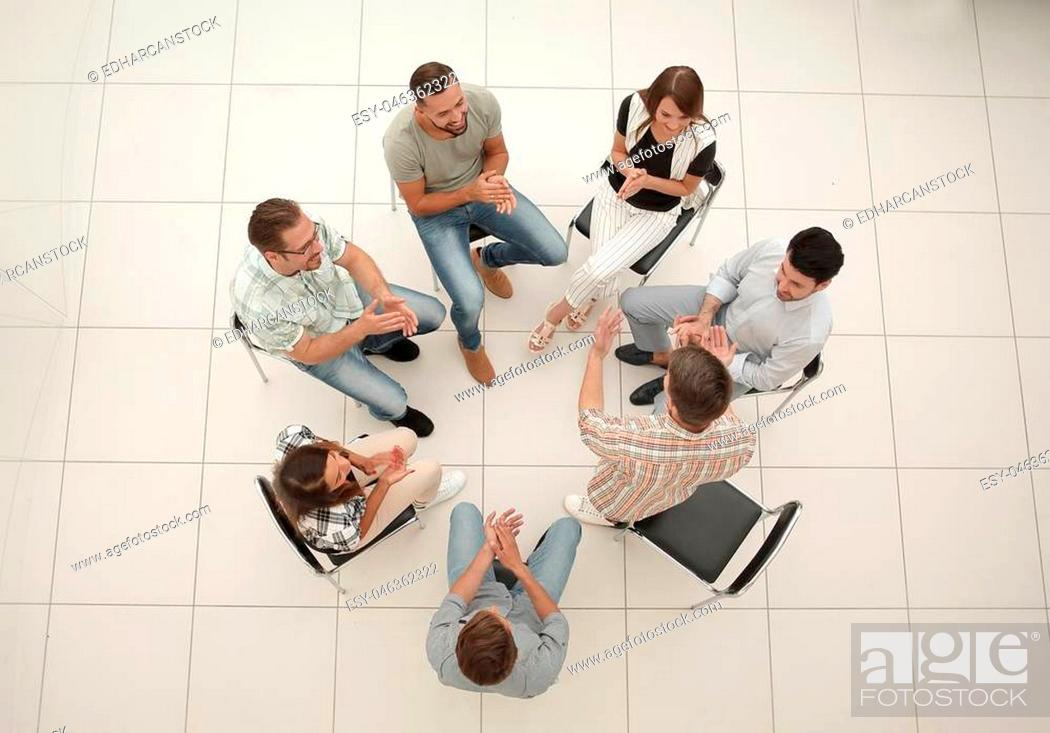 Photo de stock: top view.business team discussing interesting ideas.the concept of teamwork.