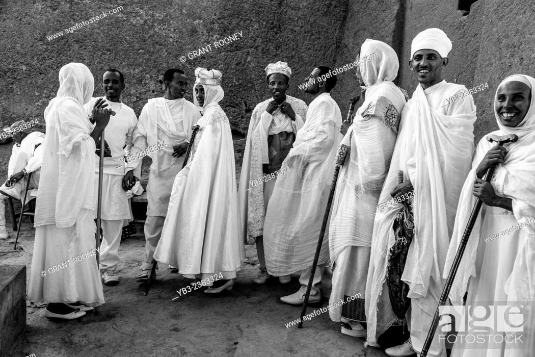 Stock Photo: An Ethiopian Wedding, Biete Maryam (House of Miriam/House of Mary) Church, Lalibela, Ethiopia.
