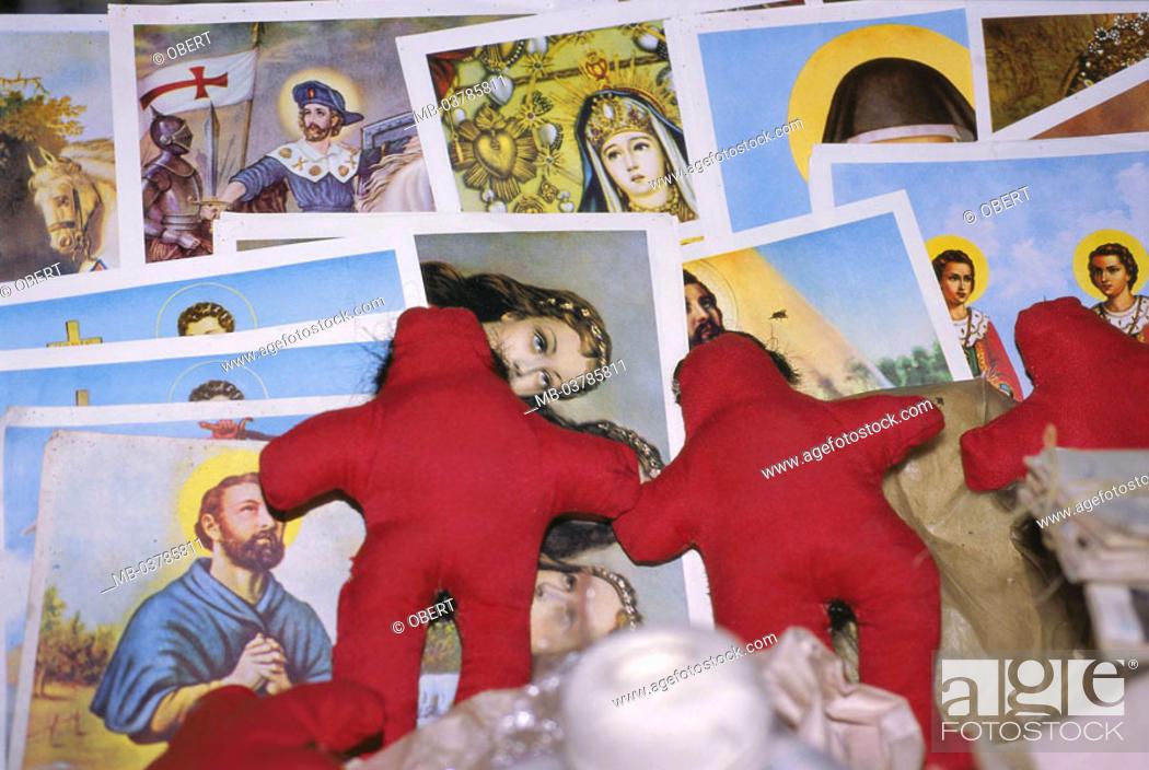 Saint pictures, voodoo dolls, Caribbean, Latin America