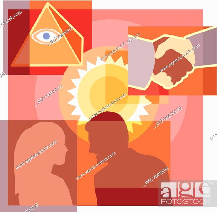 Stock Photo: A montage of the sun, a man and woman talking, a handshake, and eye on pyramid.