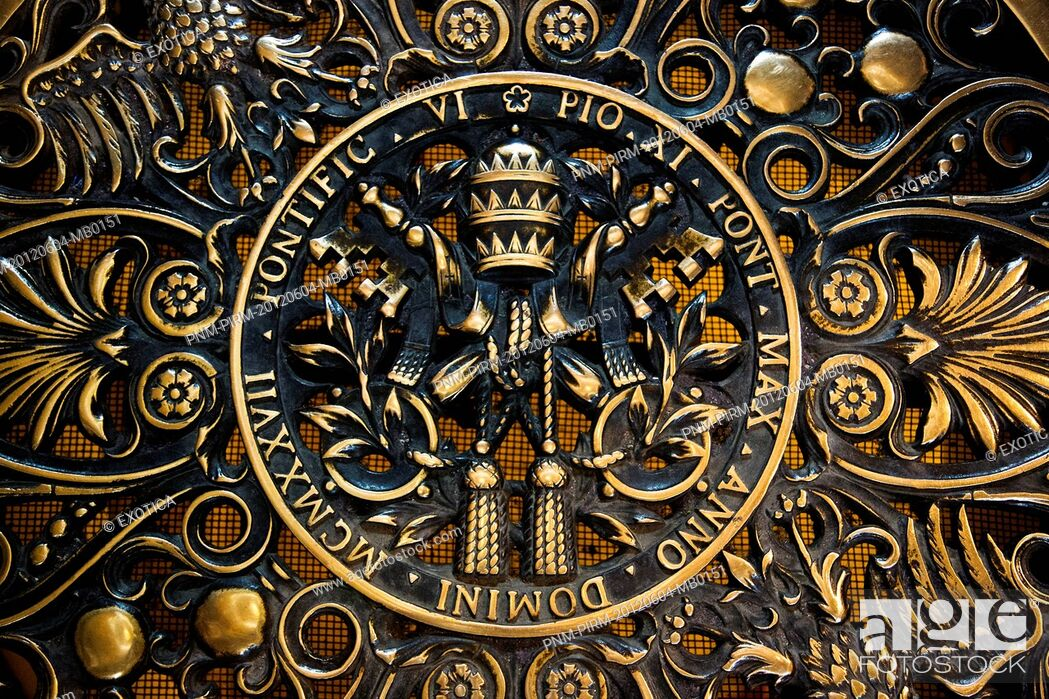 Stock Photo: Details of a gate at St. Peter's Basilica, Vatican City, Rome, Lazio, Italy.