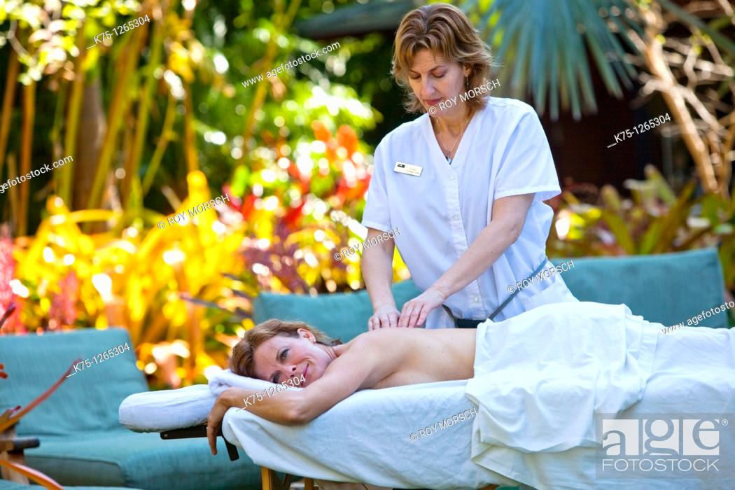 Stock Photo: massage therapist.