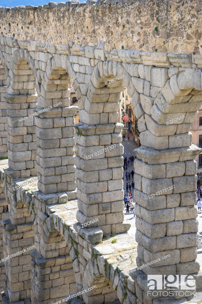 Stock Photo: Roman aqueduct of segovia. architectural monument declared patrimony of humanity and international interest by UNESCO.