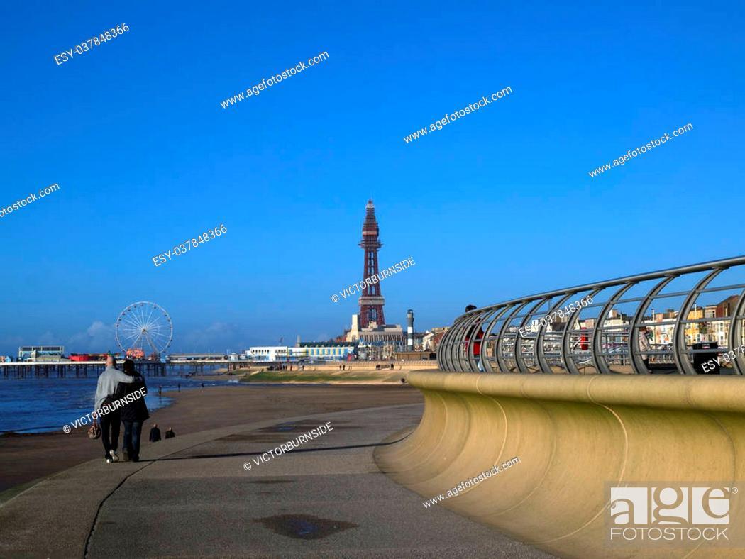 Stock Photo: Blackpool tower and new promenade.