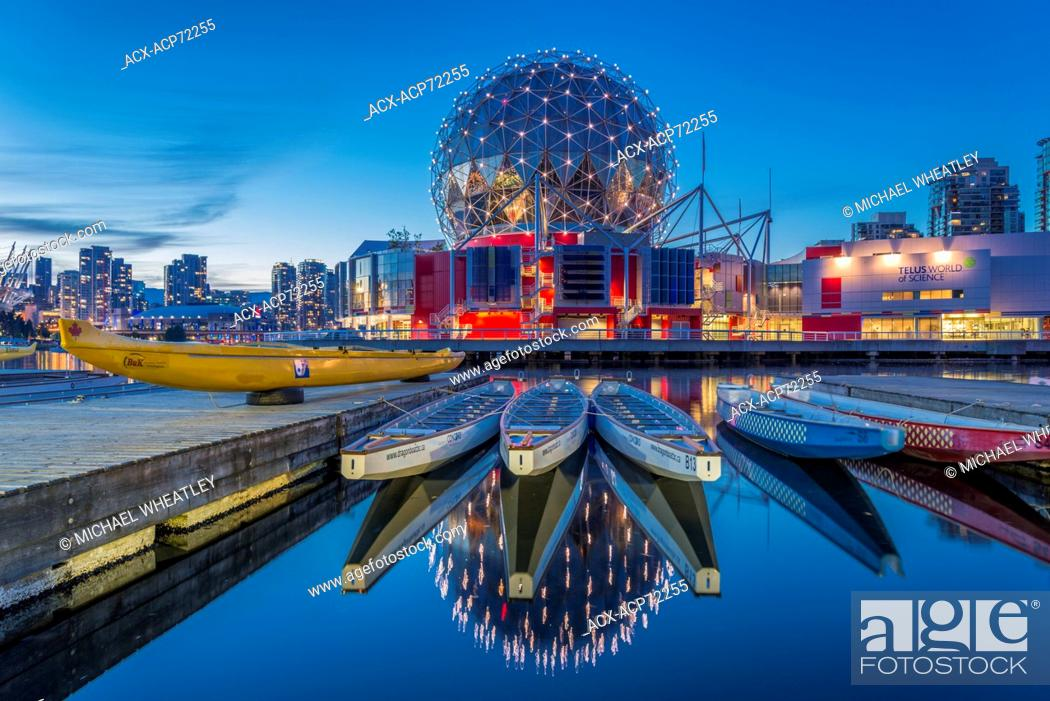 Stock Photo: Telus World of Science and dragon boats, False Creek, Vancouver, British Columbia, Canada.
