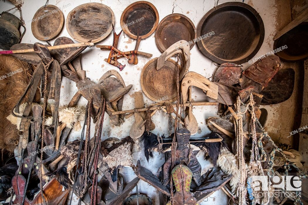Stock Photo: Collection of artifacts from Berber nomads at Muse de la Memoire Nomade in Tighmert Oasis, Morocco.