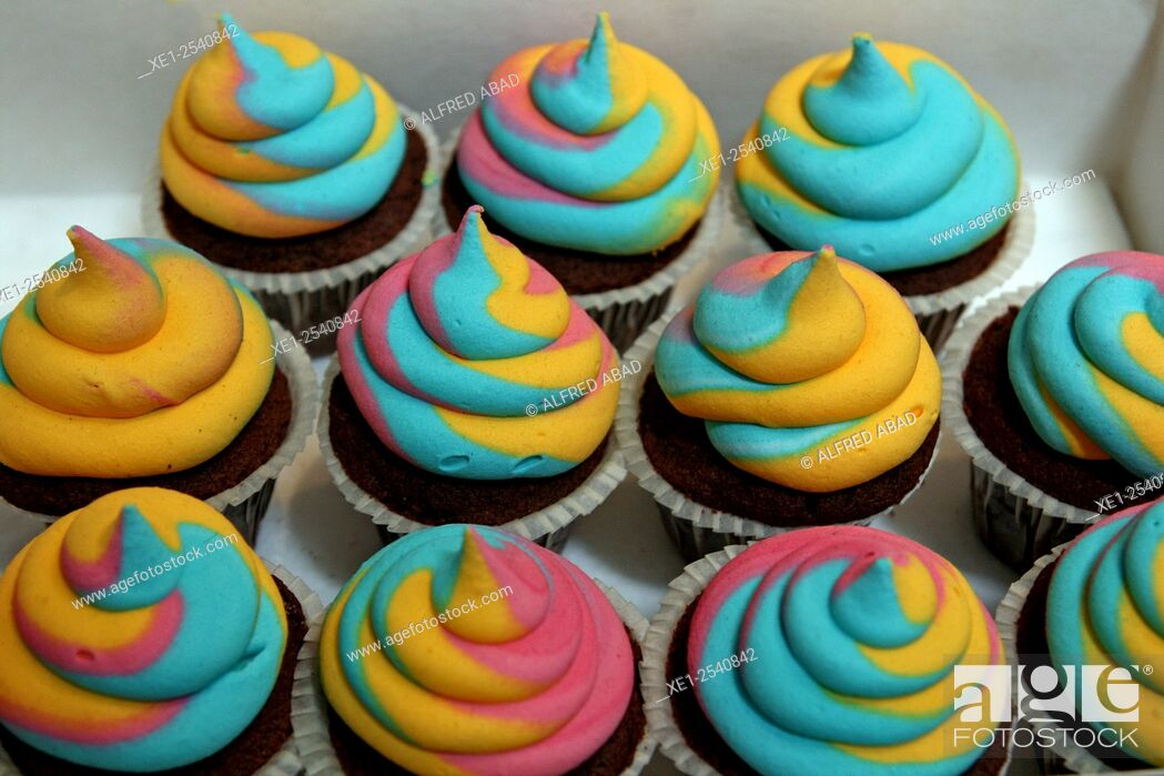 Stock Photo: Colorful cupcakes.