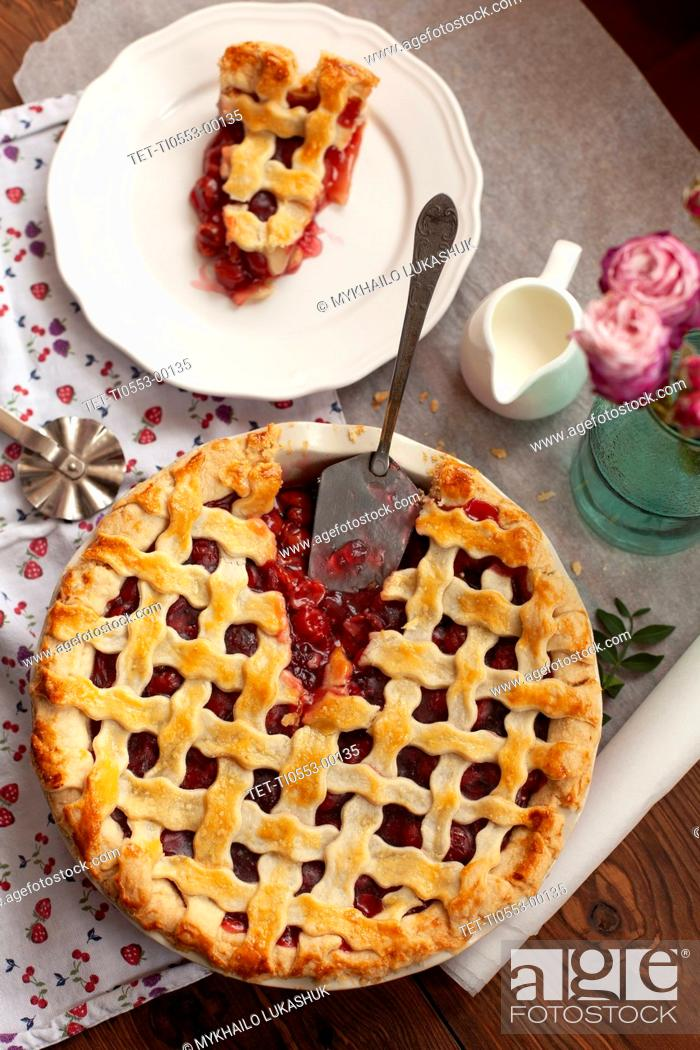 Stock Photo: High angle view of cherry pie.