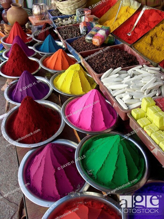 Stock Photo: Colored powder for Hindu rituals for sale in market. Bangalore. Karnataka, India.