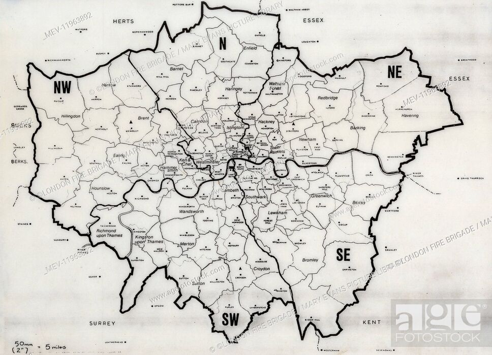 Stock Photo: Map of the Greater London area with council areas marked.