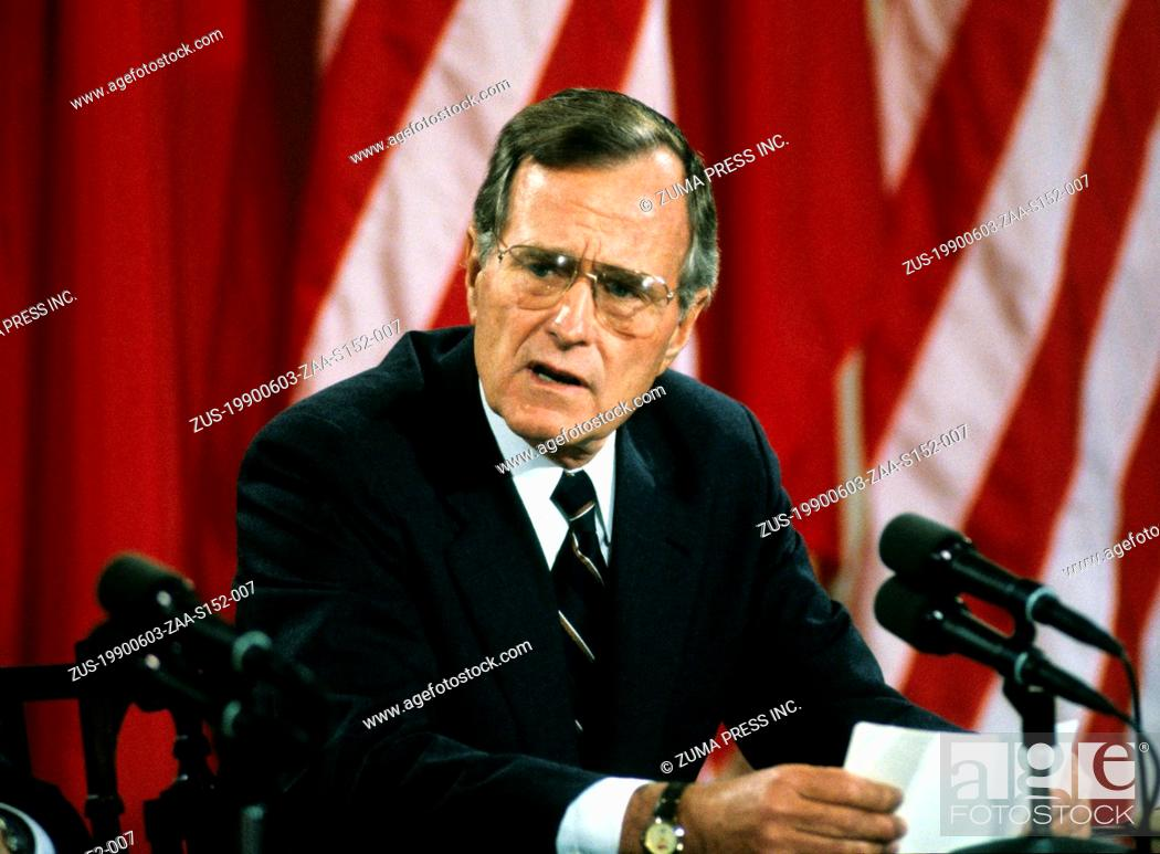 Stock Photo: June 3, 1990 - Washington, District of Columbia, U.S. - United States President GEORGE H.W. BUSH makes remarks during a joint press conference with President.