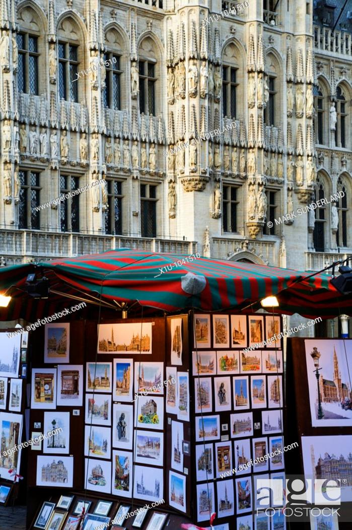 Stock Photo: A Street Artists Stall in The Grand Place Brussels Belgium.