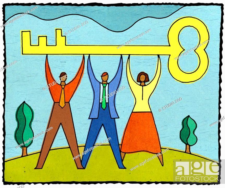 Stock Photo: Three people holding up a large key.