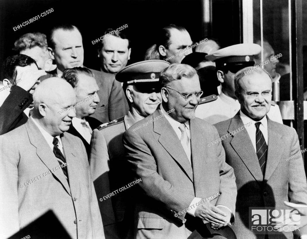 Stock Photo: Soviet delegation leaving the Palace of Nations, Geneva, during the 'Big Four' Summit in July 1955. Front row, L-R: Nikita Khrushchev.