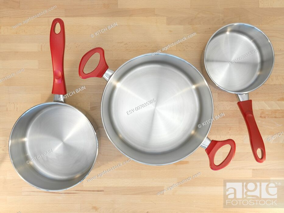Stock Photo: A close up shot of kitchen pots and pans.