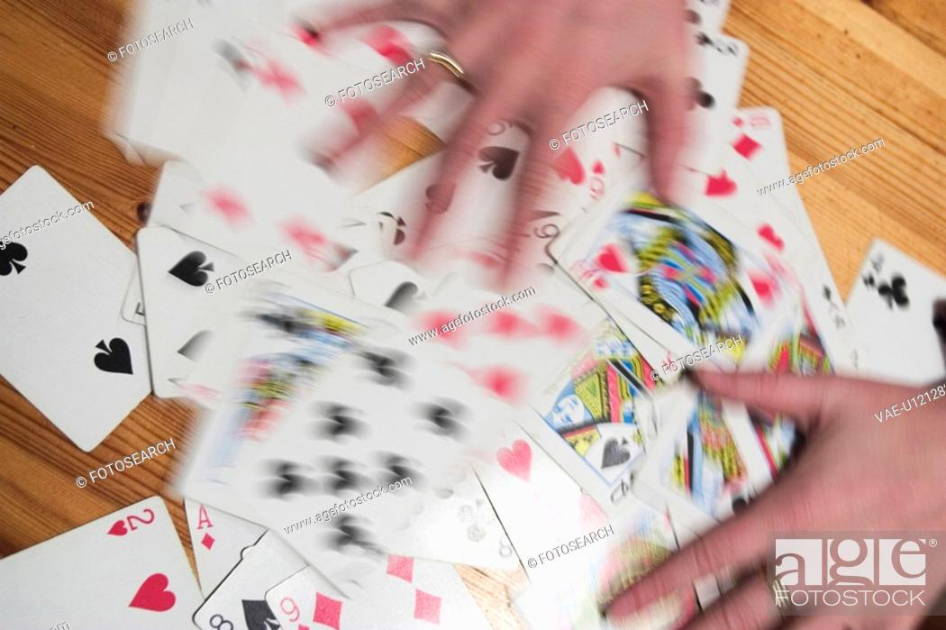 Stock Photo: hands, playing cards, card, game.