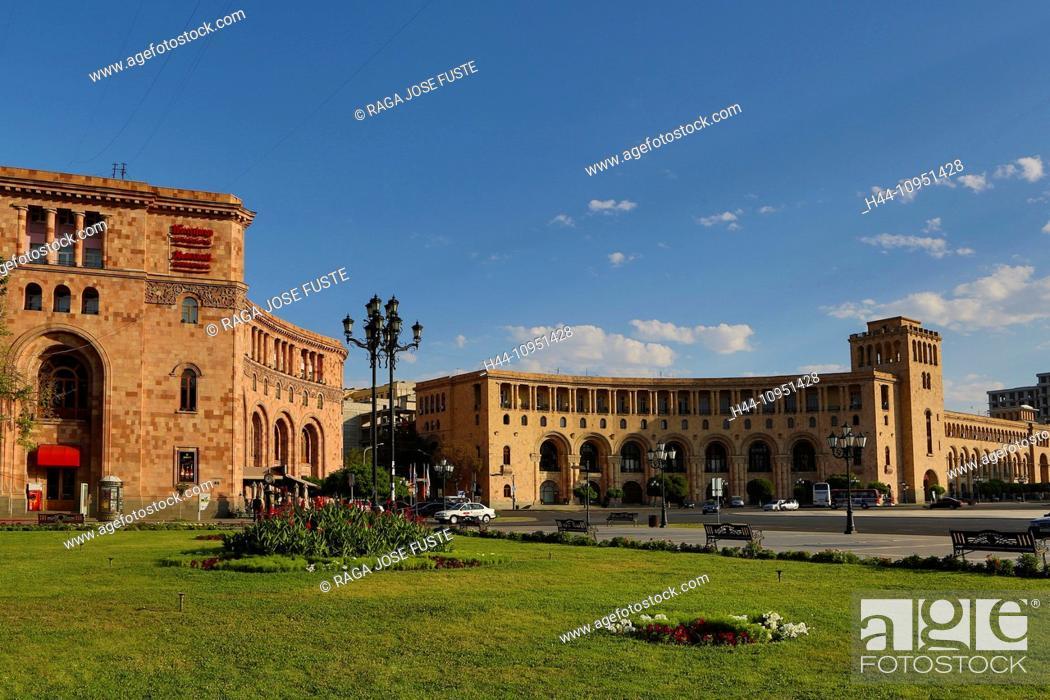 Stock Photo: Armenia, South Caucasus, Caucasus, Eurasia, building, History, Republic, Yerevan, architecture, city, downtown, famous, fountain, landmark, skyline, square.
