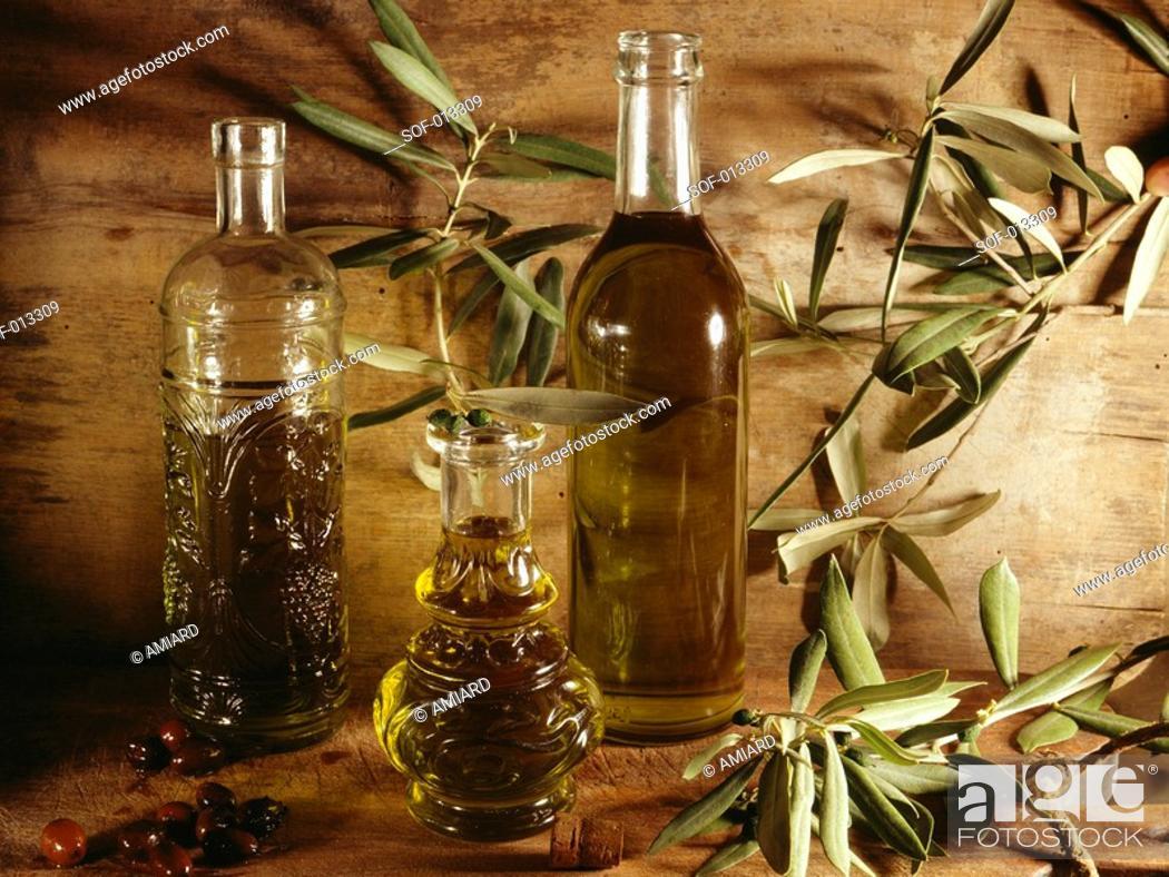 Stock Photo: bottles of olive oil.