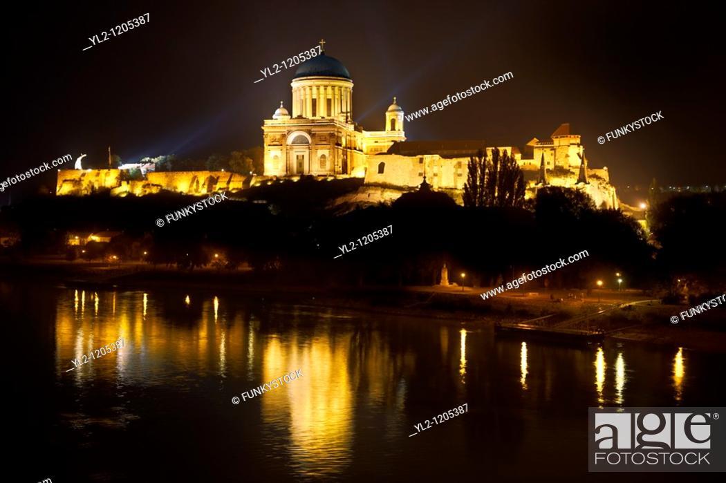 Stock Photo: Exterior of the Neo Classical Esztergom Basilica at night , Cathedral  Esztergomi Bazilika , Hungary.