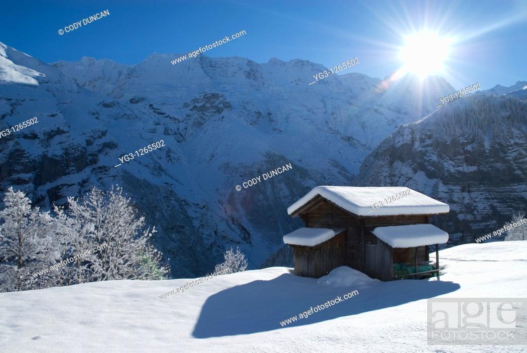Stock Photo: Hillside cabin in snow, Gimmelwald, Bernese Oberland, Switzerland.