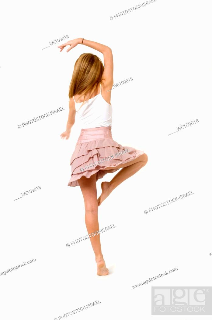 Stock Photo: Teen dancer on On white Background.