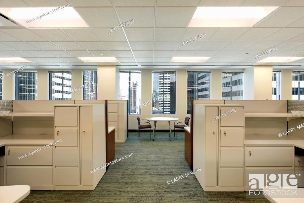 Stock Photo: Cubicles and meeting area in a downtown office building.