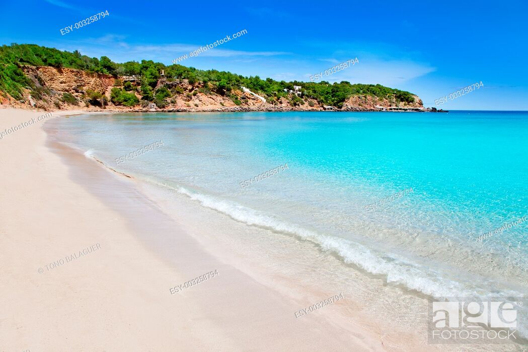 Stock Photo: Cala Llenya in Ibiza with turquoise water in Balearic islands.