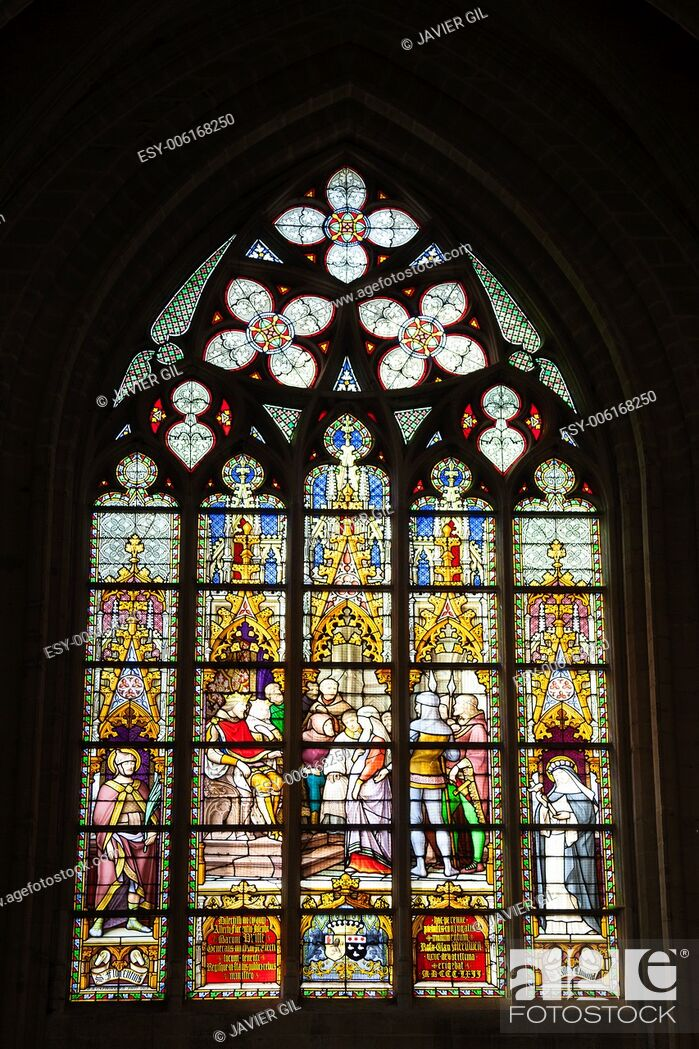 Stock Photo: Windows of the Cathedrale Sts Michel et Gudule, Brussels, Belgium.