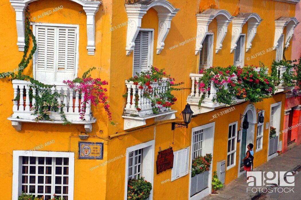 Stock Photo: hotel, balconies with pots, Cartagena de Indias, Colombia.