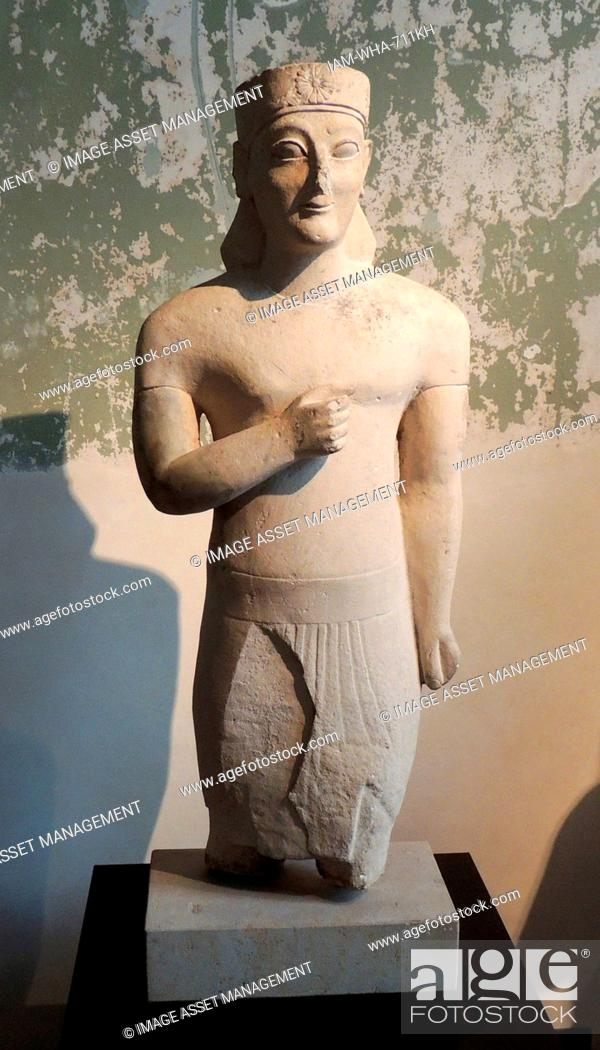 Stock Photo: Male statue with rosette diadem. The loincloth and arm position. Exhibit of Egyptian influences. Circa 600 BC, Idalion, Nicosia New Museum, Berlin.