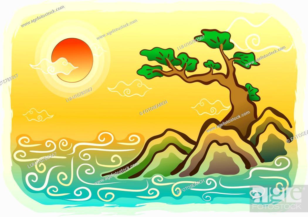 Stock Photo: sunrise, rock, sun, tree, pine tree, scene.