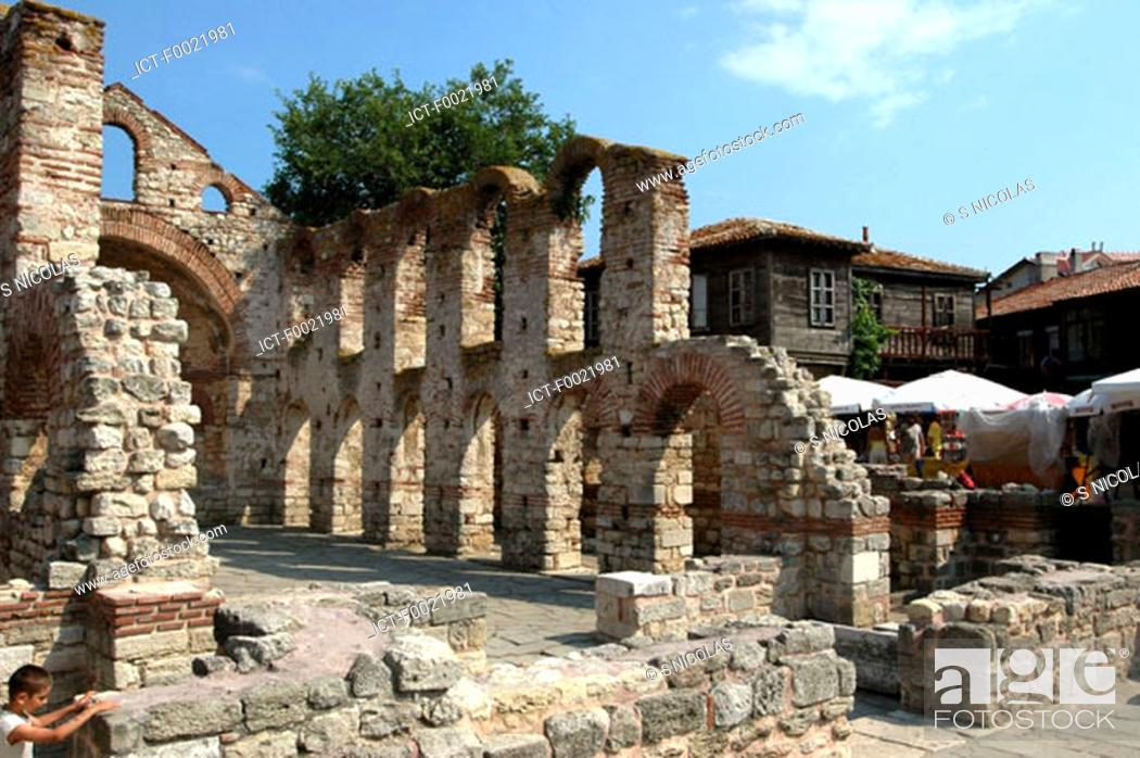 Stock Photo: Bulgaria, Nesebar, ruins of the Ancient City Church.
