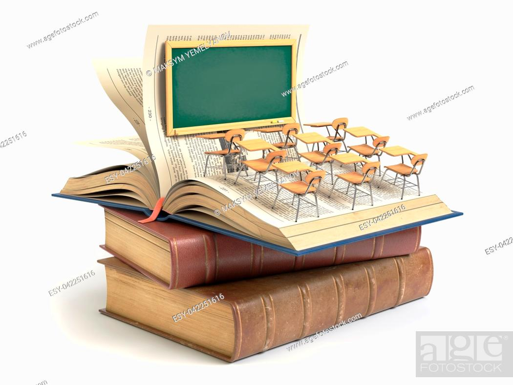 Imagen: Vintage books with blackboard and school desks in the auditorium. Education concept. 3d illustration.