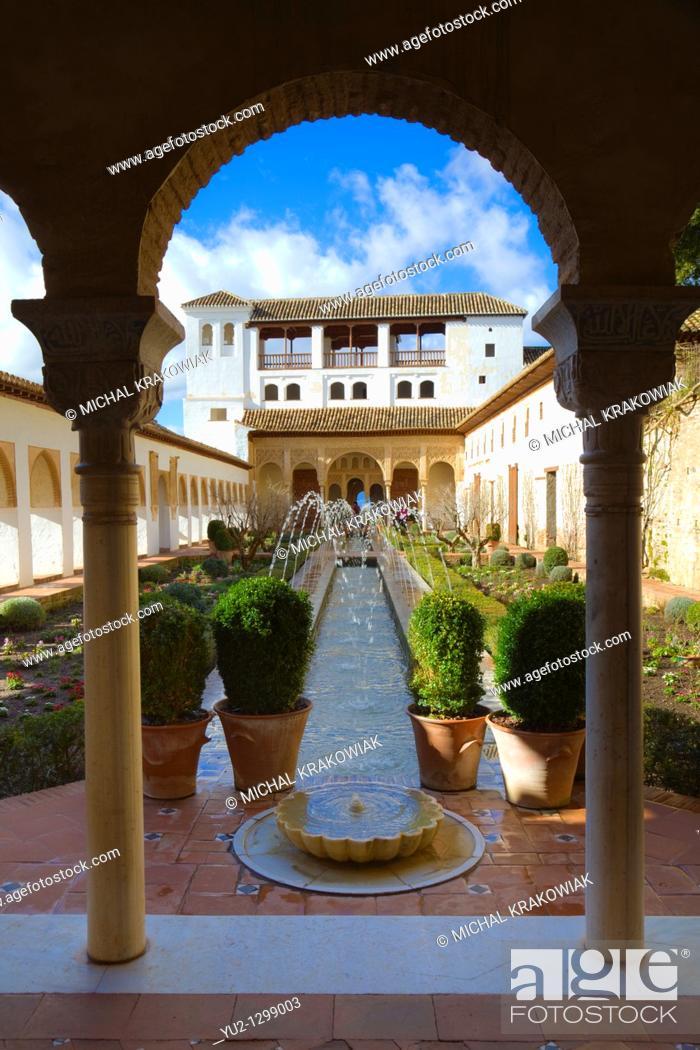Stock Photo: Patio de la Acequia in Generalife part of Alhambra in Granada, Spain.