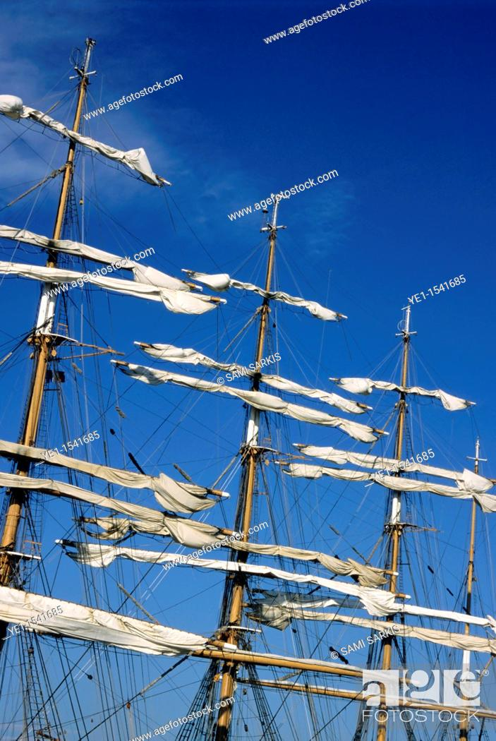 Stock Photo: Mast of a Russian sailing ship Sedov docked in Marseille, France.