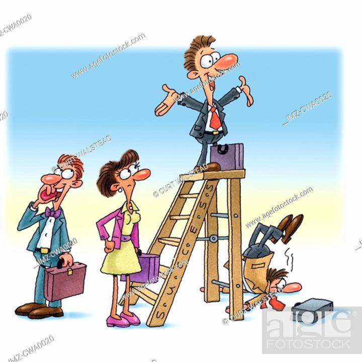 Stock Photo: An illustration of a man on top of the corporate ladder.