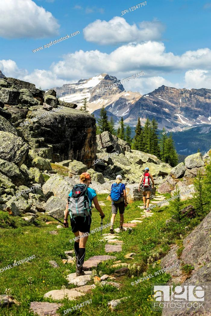 Imagen: Three female hikers on rocky pathway in a mountain meadow with mountain, blue sky and clouds in the background; British Columbia, Canada.