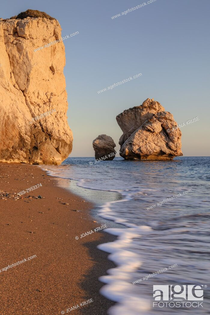 Stock Photo: Petra tou Romiou, Aphrodite's Rock, Paphos, Cyprus.