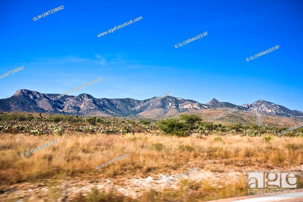 Stock Photo: Mountain range on a landscape, Sombrerete, Zacatecas State, Mexico.