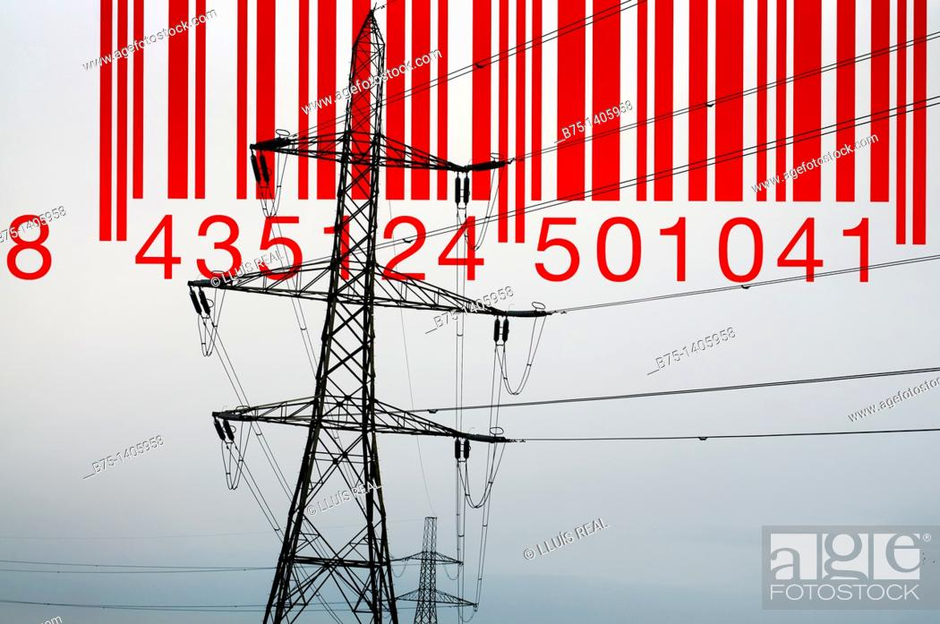 Stock Photo: Pylon and bar code.