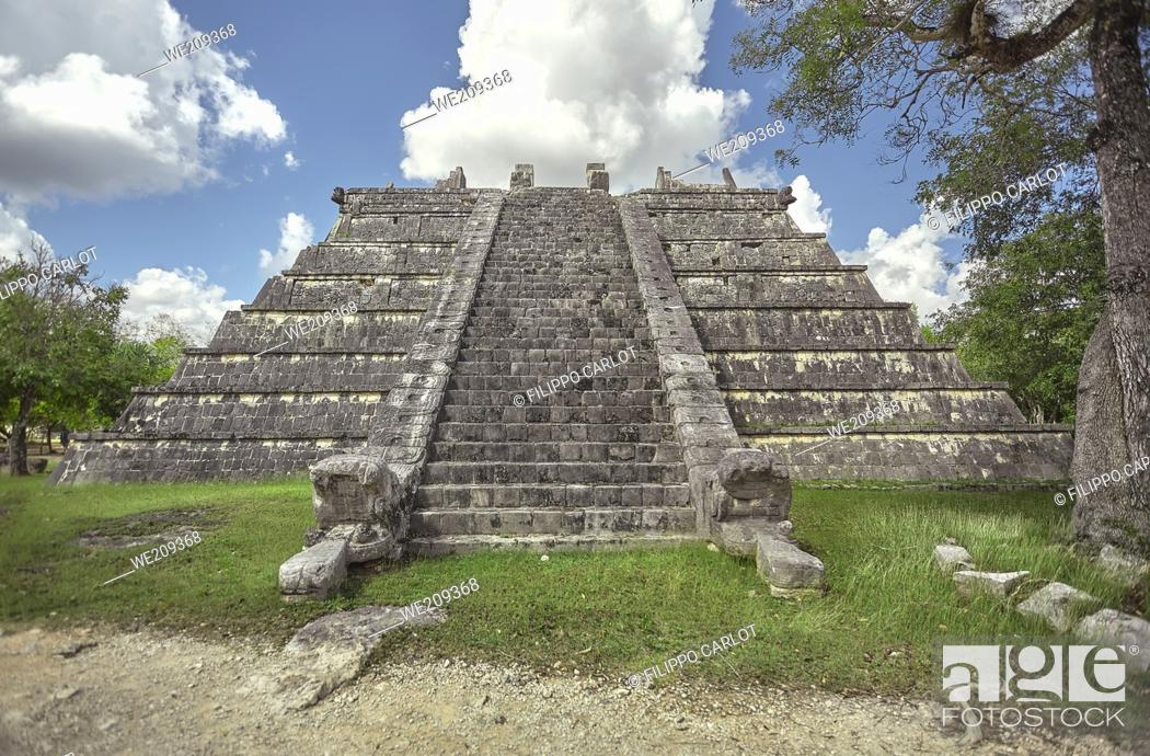 Stock Photo: Front view of one pyramid of the Chichen Itza archaeological complex in Mexico.